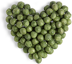 peas in the shape of a heart